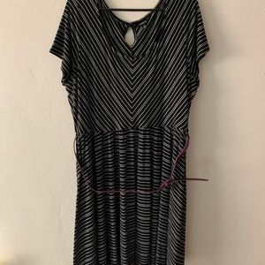 Black and white stripe dress with belt